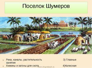 Поселок Шумеров Река, каналы, растительность 3) Главные занятия Хижины и заго