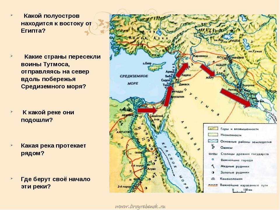 Какой полуостров находится к востоку от Египта? Какие страны пересекли воины...