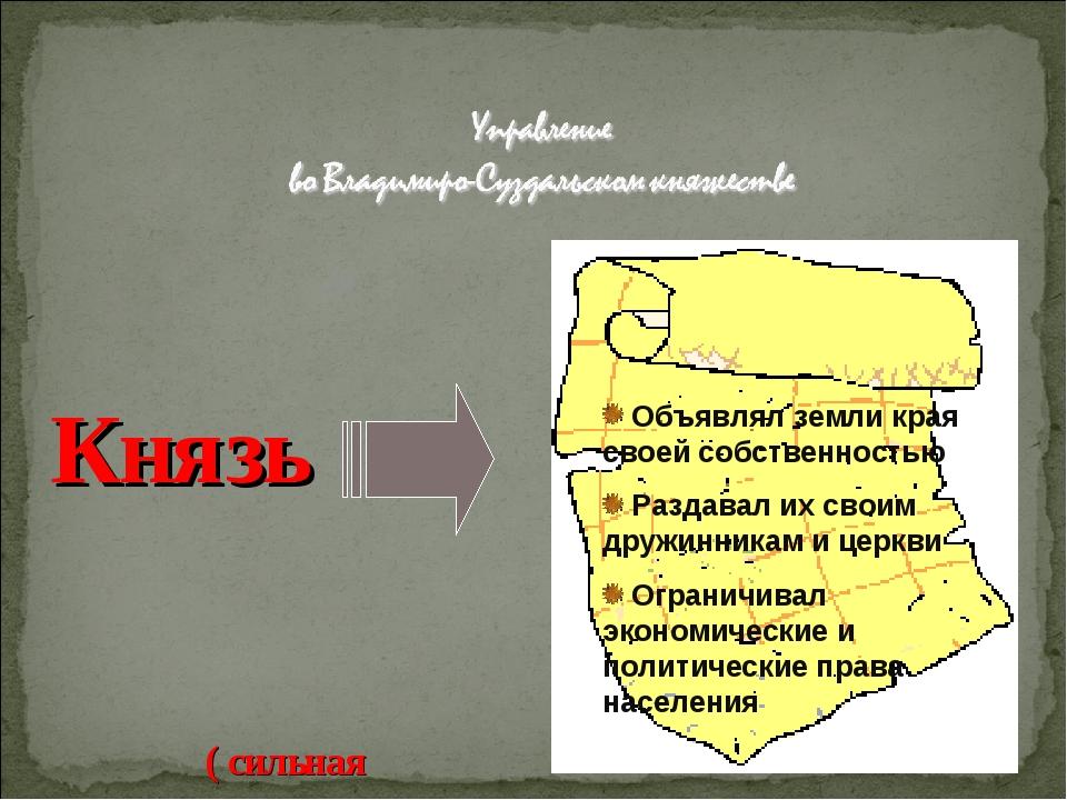 Князь ( сильная власть) Объявлял земли края своей собственностью Раздавал их...