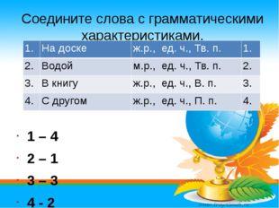 Соедините слова с грамматическими характеристиками. 1 – 4 2 – 1 3 – 3 4 - 2 1