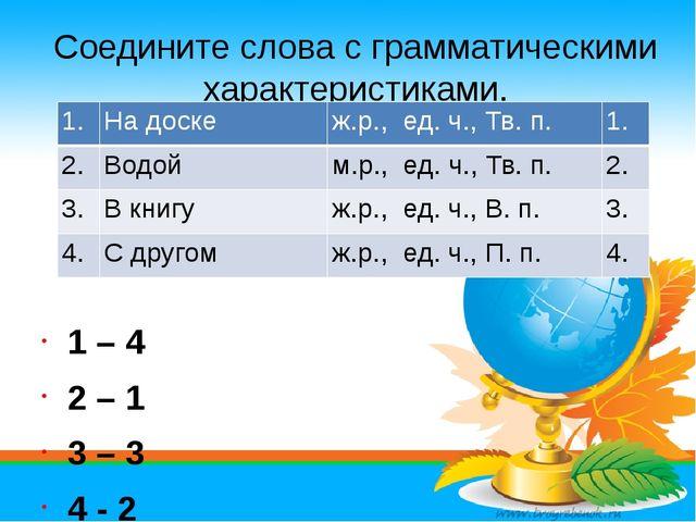 Соедините слова с грамматическими характеристиками. 1 – 4 2 – 1 3 – 3 4 - 2 1...