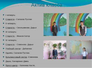 Актив класса I четверть: Староста - Салахов Руслан II четверть: Староста – См