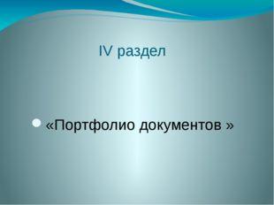 IV раздел «Портфолио документов »