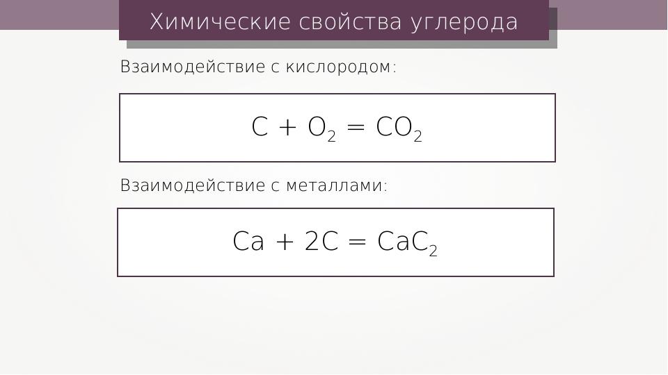 Химические свойства углерода С + О2 = СО2 Взаимодействие с кислородом: Са + 2...