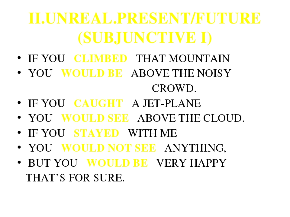 II.UNREAL.PRESENT/FUTURE (SUBJUNCTIVE I) IF YOU CLIMBED THAT MOUNTAIN YOU WOU...