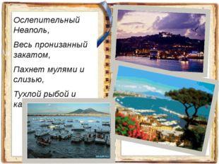 Ослепительный Неаполь, Весь пронизанный закатом, Пахнет мулями и слизью, Тухл