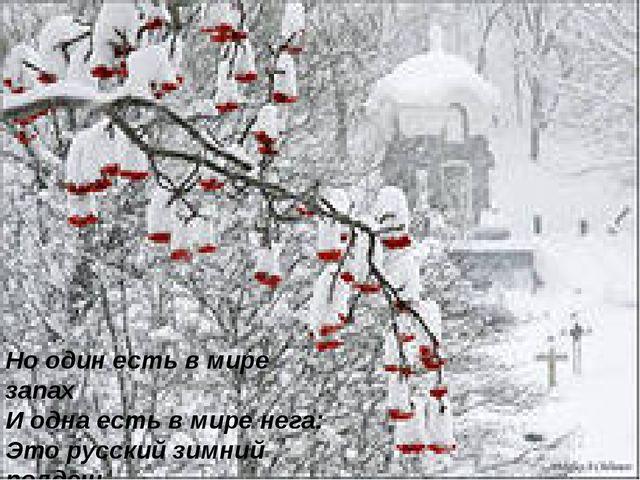 Но один есть в мире запах И одна есть в мире нега: Это русский зимний полден...