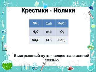 Крестики - Нолики Выигрышный путь – вещества с ионной связью NH3CaSMgCl2 H2