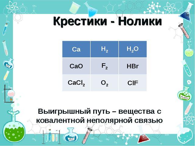 Крестики - Нолики Выигрышный путь – вещества с ковалентной неполярной связью...