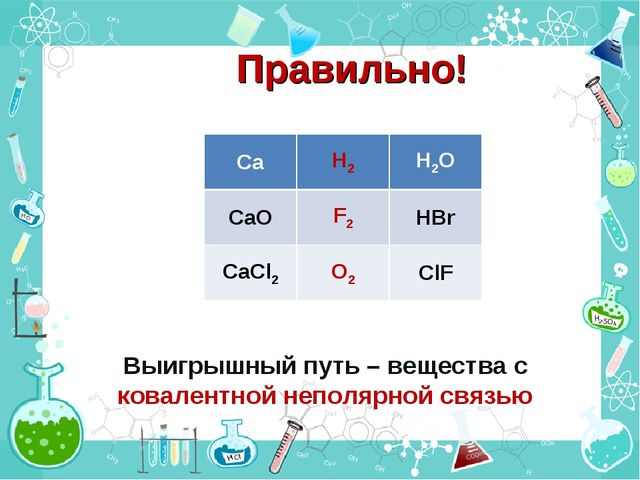 Правильно! Выигрышный путь – вещества с ковалентной неполярной связью CaH2H...
