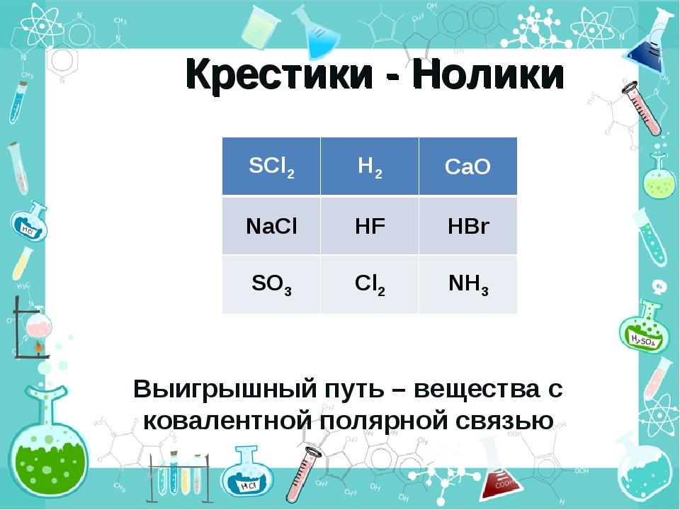 Крестики - Нолики Выигрышный путь – вещества с ковалентной полярной связью SC...