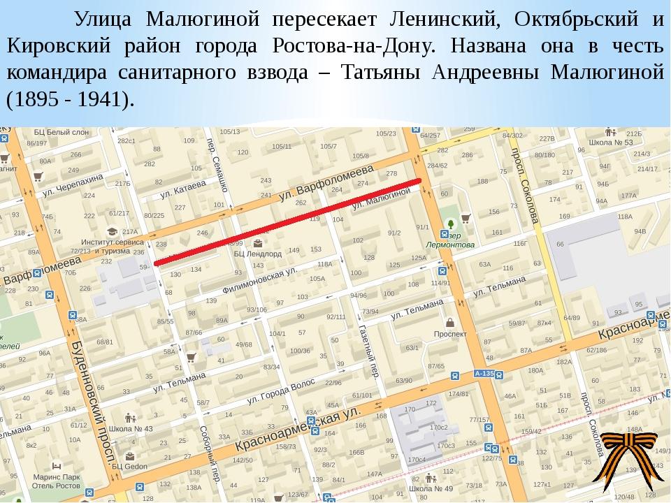 Улица Малюгиной пересекает Ленинский, Октябрьский и Кировский район города Р...