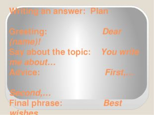 Writing an answer: Plan Greeting: Dear (name)! Say about the topic: You write