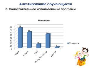 Анкетирование обучающихся 8. Самостоятельное использование программ