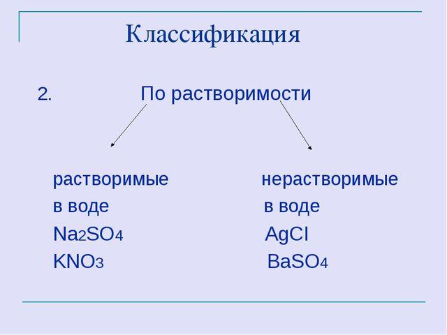 Классификация 2. По растворимости растворимые нерастворимые в воде в воде Na...