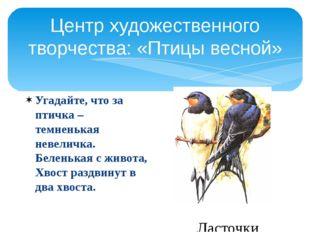 Центр художественного творчества: «Птицы весной» Угадайте, что за птичка – те