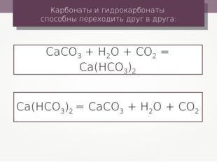 Карбонаты и гидрокарбонаты способны переходить друг в друга: СаСО3 + Н2О + СО