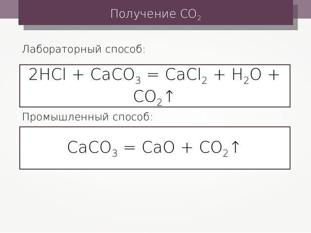 Получение СО2 2HCl + CaCO3 = CaCl2 + H2O + CO2↑ Лабораторный способ: СаСО3 =...