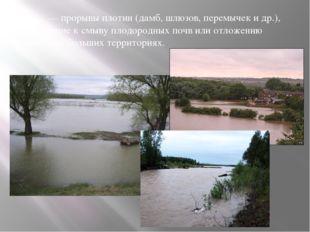 — прорывы плотин (дамб, шлюзов, перемычек и др.), приводящие к смыву пл