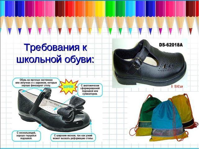 Требования к школьной обуви: