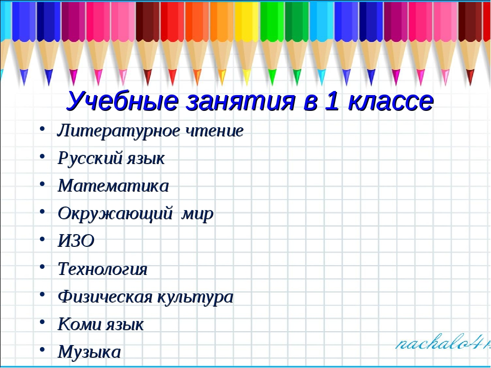 Учебные занятия в 1 классе Литературное чтение Русский язык Математика Окружа...