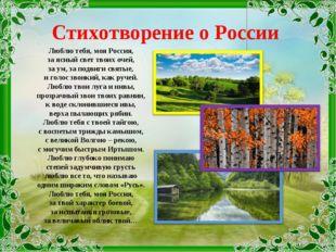 Стихотворение о России Люблю тебя, моя Россия, за ясный свет твоих очей, за