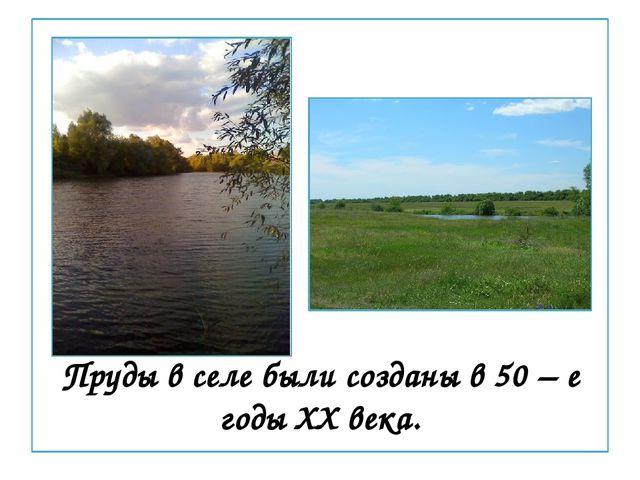 Пруды в селе были созданы в 50 – е годы XX века.