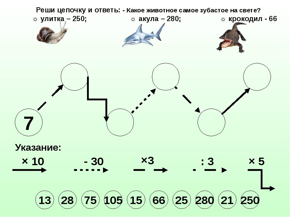 7 Указание: × 10 - 30 ×3 : 3 × 5 Реши цепочку и ответь: - Какое животное само...