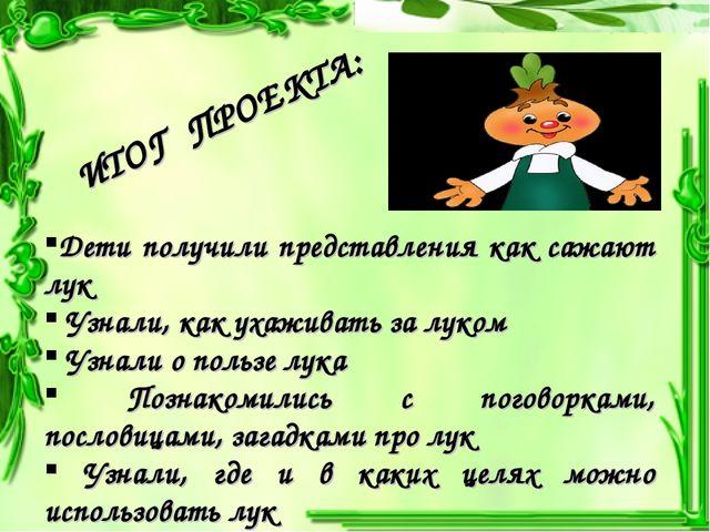 Дети получили представления как сажают лук Узнали, как ухаживать за луком Узн...