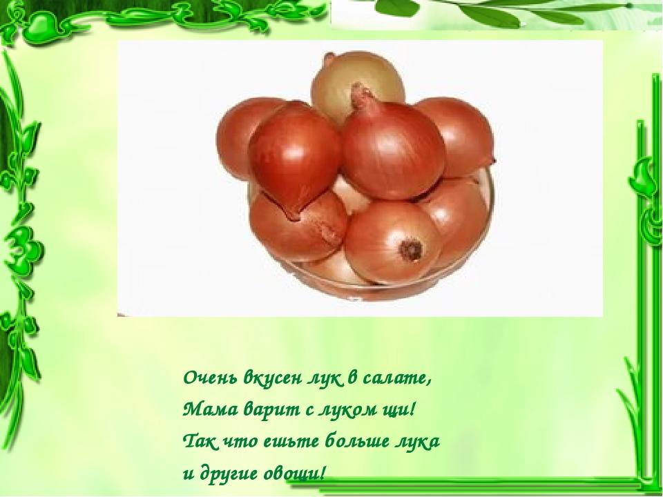 Очень вкусен лук в салате, Мама варит с луком щи! Так что ешьте больше лука и...