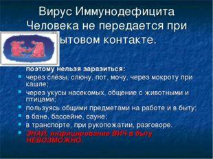 Вирус Иммунодефицита Человека не передается при бытовом контакте. поэтому нел