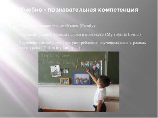 Учебно - познавательная компетенция 1 уровень: знание значений слов (Family)