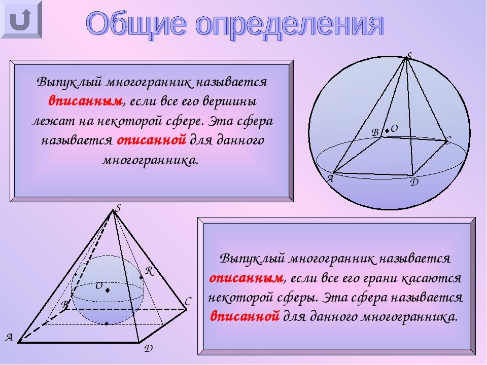 Выпуклый многогранник называется вписанным, если все его вершины лежат на нек...