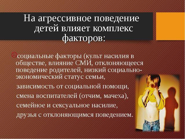 На агрессивное поведение детей влияет комплекс факторов: социальные факторы...