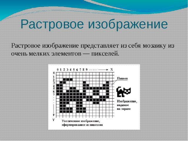 Растровое изображение Растровое изображение представляет из себя мозаику из о...