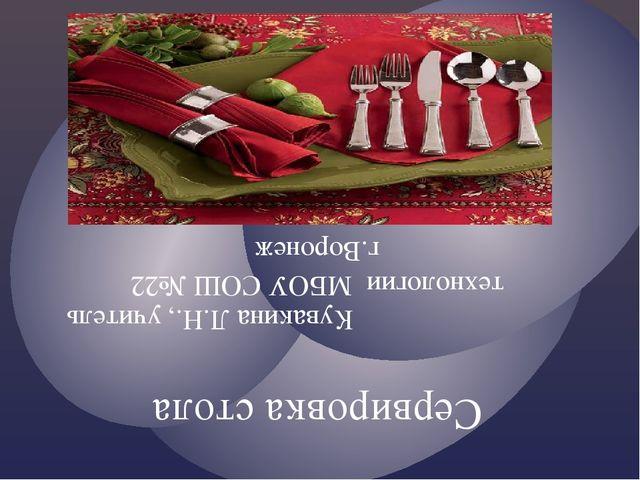 Сервировка стола Кувакина Л.Н., учитель технологии МБОУ СОШ №22 г.Воронеж