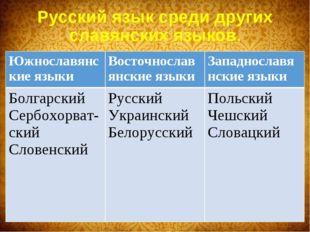 Русский язык среди других славянских языков. Южнославянские языкиВосточносла