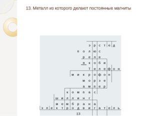 13. Металл из которого делают постоянные магниты э р с т е д п о л ю с р е л