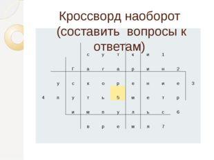 Кроссворд наоборот (составить вопросы к ответам) с у т к и 1 Г а г а р и н 2