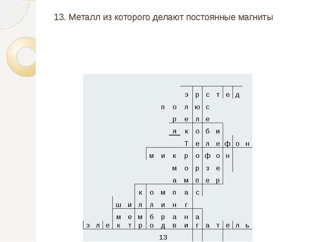 13. Металл из которого делают постоянные магниты э р с т е д п о л ю с р е л...