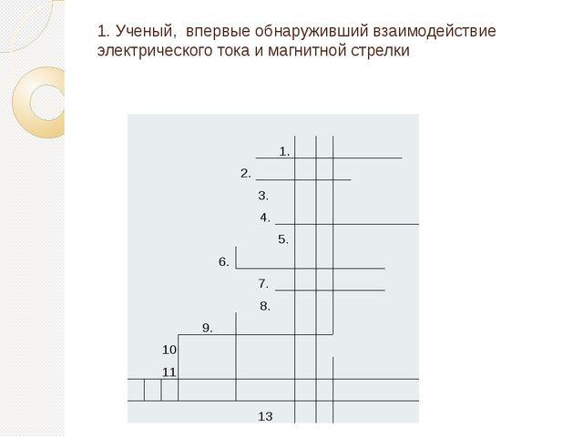 1. Ученый, впервые обнаруживший взаимодействие электрического тока и магнитно...