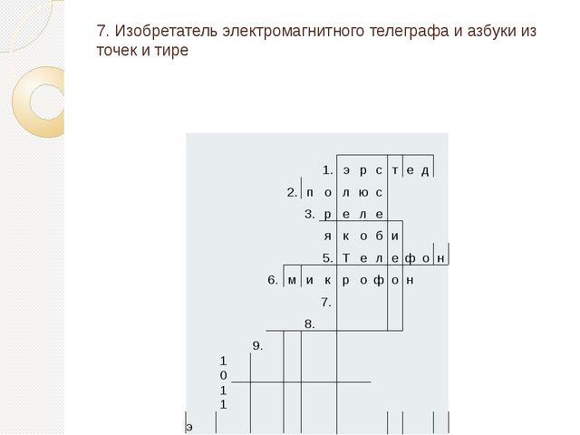7. Изобретатель электромагнитного телеграфа и азбуки из точек и тире 1. э р с...