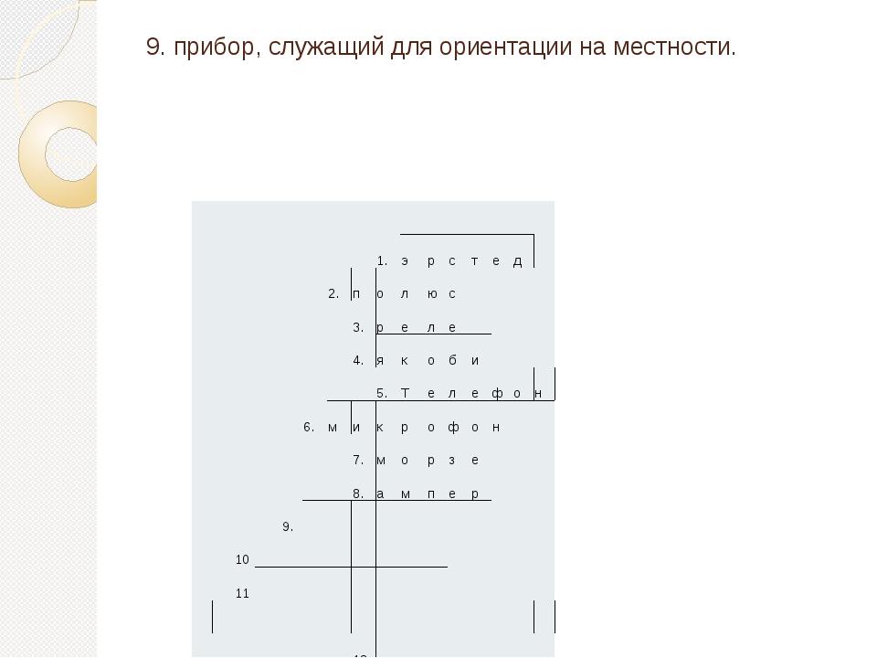 9. прибор, служащий для ориентации на местности. 1. э р с т е д 2. п о л ю с...
