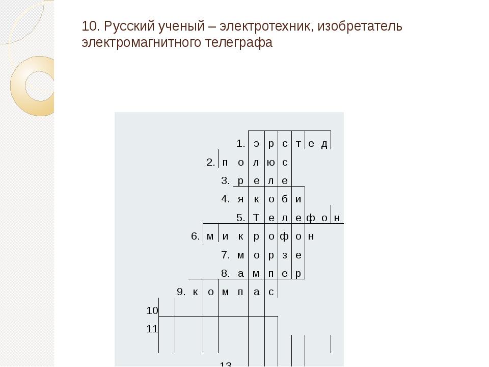 10. Русский ученый – электротехник, изобретатель электромагнитного телеграфа...