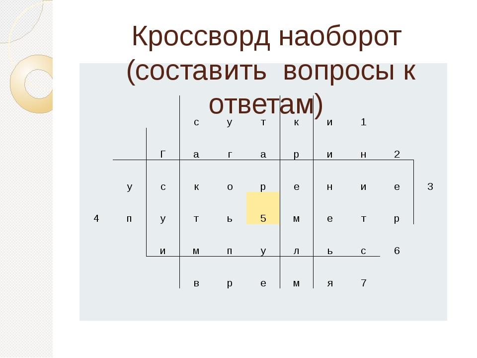 Кроссворд наоборот (составить вопросы к ответам) с у т к и 1 Г а г а р и н 2...
