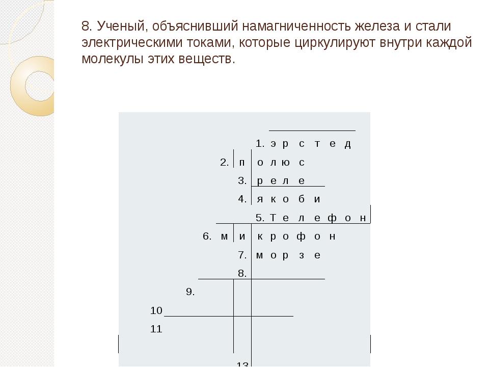 8. Ученый, объяснивший намагниченность железа и стали электрическими токами,...