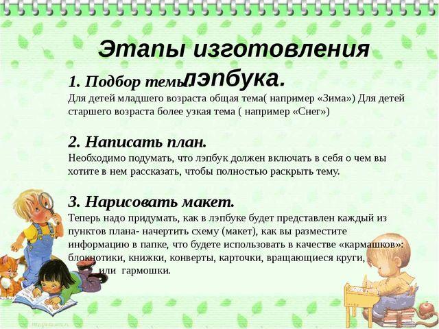 Этапы изготовления лэпбука. 1. Подбор темы. Для детей младшего возраста обща...