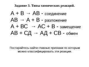 А + В → АВ - соединение АВ → А + В - разложение А + ВС → АС + В - замещение А