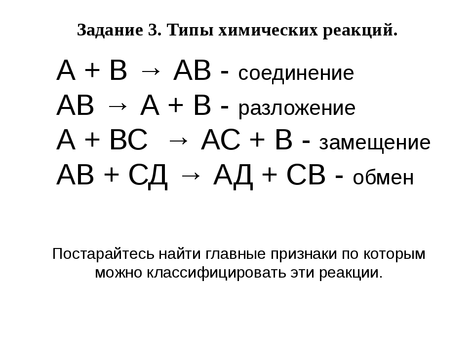 А + В → АВ - соединение АВ → А + В - разложение А + ВС → АС + В - замещение А...