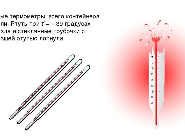 Ртутные термометры всего контейнера лопнули. Ртуть при t°= – 39 градусах замё...